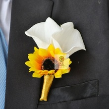 Wedding Flowers Groom Man  Boutonniere Buttonhole Corsage Manual Simulation Party Meaty plants Sunflower Wedding Flowers