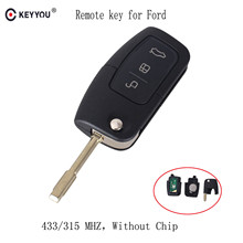 KEYYOU 315/433 MHz 3 Buttons Flip Folding Car remote control For FORD Mondeo Focus Fiesta C Max S Max Galaxy(China)