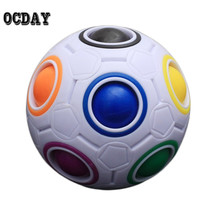 OCDAY Rainbow Football Creative Ball Children Kids Spherical Magic Cube Toy Learning And Education Puzzle Block Toys Hot Selling(China)