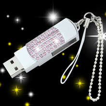 Rotating Jewelry Girls Gift Creative Usb Flash Drive Drives Pen Drive 64GB Pendrive 32GB 16GB 8GB Gifts Usb Stick Hard Disk(China)