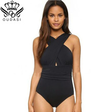 Buy Sexy Body Suit 2017 NEW One Piece Swimwear maillot de bain femme Cross Bandage Beach Swimming Suit Bathing Suit Swimsuit Women