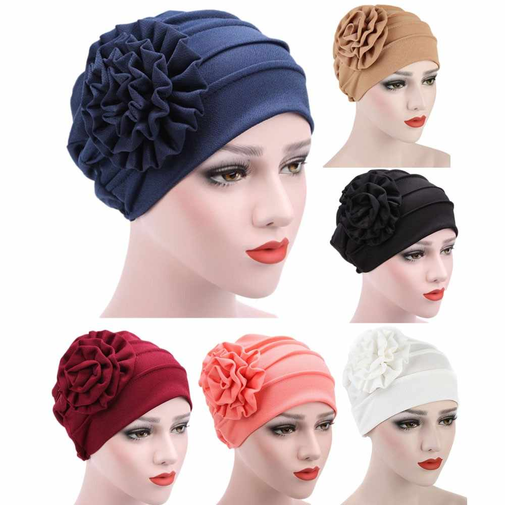 NewNew Coming Lovely Women Muslim Stretch Turban Hat Chemo Cap Hair Loss  Head Cap beret women 4881c7ae639c