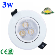 free shipping 3W 5W 7W led Ceiling Light spotlight AC85-265V CREE LED downlight lams white shell cool warm white light(China)
