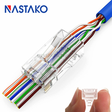 NASTAKO 50/100x Cat5e Cat6 Connector RJ45 Connector ez RJ45 Cat6 Network Cable Plug Unshielded Modular UTP Terminals Have Hole(China)