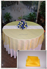 210cm Round NO.64 Orange Yellow Organza Table Overlay/Table Cover/Tablecloth For Wedding Party Home Hotel Banquet Decorations(China)