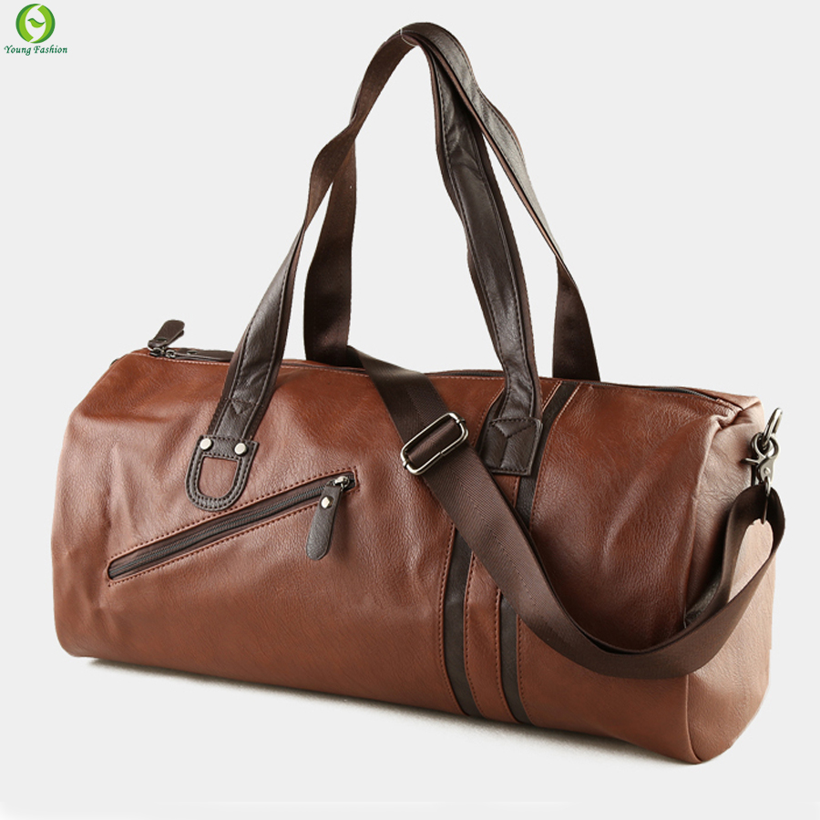 Brand Men Soft Leather Travel Bag Casual Men Leather Shoulder Bag &amp; Travel Tote Waterproof Fashion Bags Bolso Deporte Barrel<br><br>Aliexpress