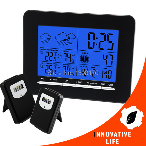 Digital Indoor/Outdoor Wireless Weather Station with 2 sensors Temperature C / F RCC DCF Radio Controlled Clock Date Calendar<br>