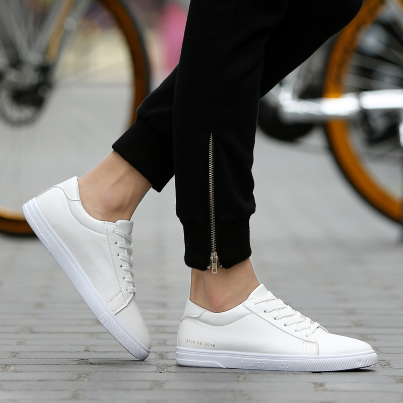 New Fashion White Shoes Mens Flats Leather Outdoors Walking Mens Trainers Lace Up Casual Shoes For Adults Zapatillas Hombre<br><br>Aliexpress
