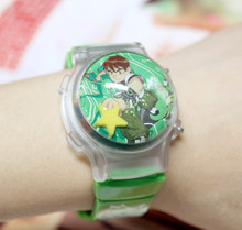 Hot Sale 1PC Funny Ben 10 Boy's Lovely Waterball LED Watches With Flashing Light Children Cartoon Character Kids Digital Watches