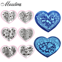 2016 New 6pcs Love Heart Shape Nail Art Stamping Plates Stainless Steel DIY Flower Christmas Nail Stamp Template