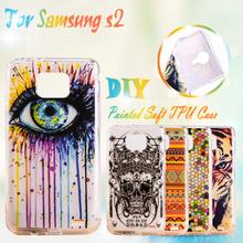 AKABEILA Painted TPU Mobile Phone Cases For Samsung Galaxy SII I9100 4.3 inch S2 GT-I9100 Cases Silicone TPU Phone Cover