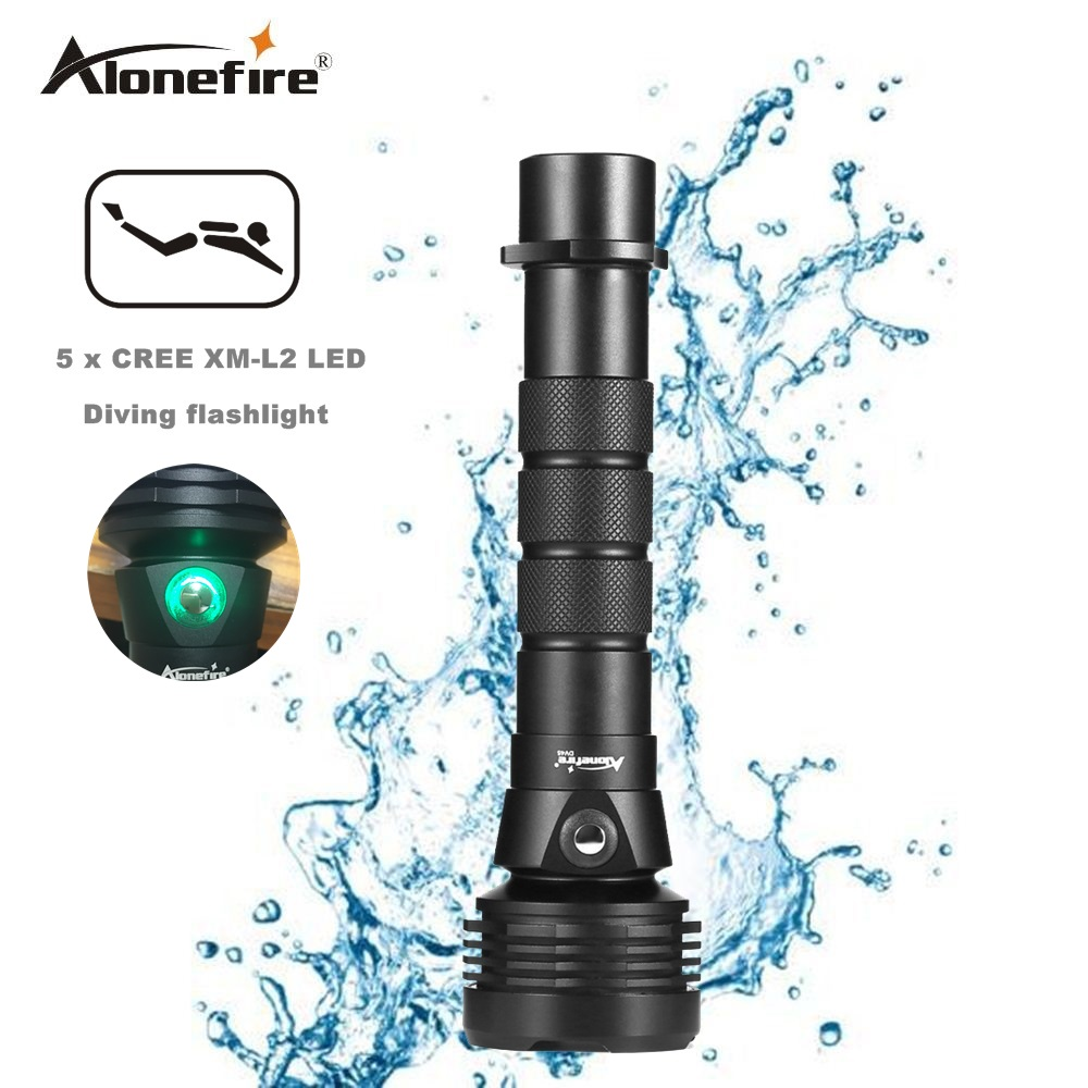 AloneFire DV45 Diving flashlight 18650 or 26650 LED Underwater Flashlights XM-L2 Waterproof dive light Torch Portable Lights<br>