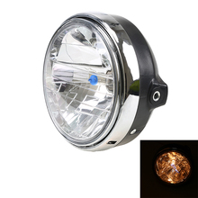 Retro Universal Black Motorcycle Light Front Amber Halogen Headlight For Suzuki Harley Cafe Racer Bobber Custom Chopper Headlamp(China)