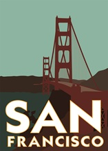 Golden Gate Bridge Pop Map of San Francisco Classic Vintage Retro Kraft Decorative Poster Maps Home Bar Posters Wall Decor Gift(China)