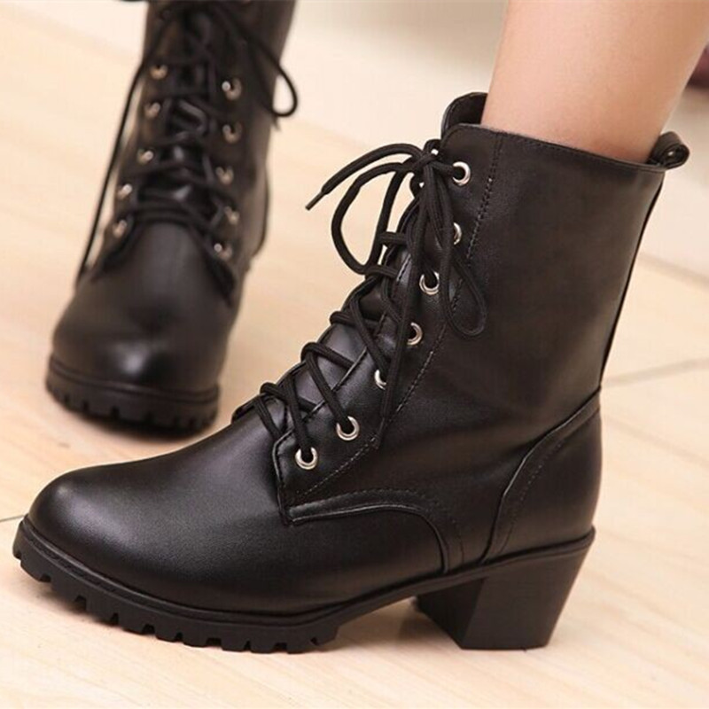 Ladies Fashion Plus size(4 to 12)Lace-up wedge heel short ankle boots winter bootie high heel bota riding.equestrian Camel Black<br>
