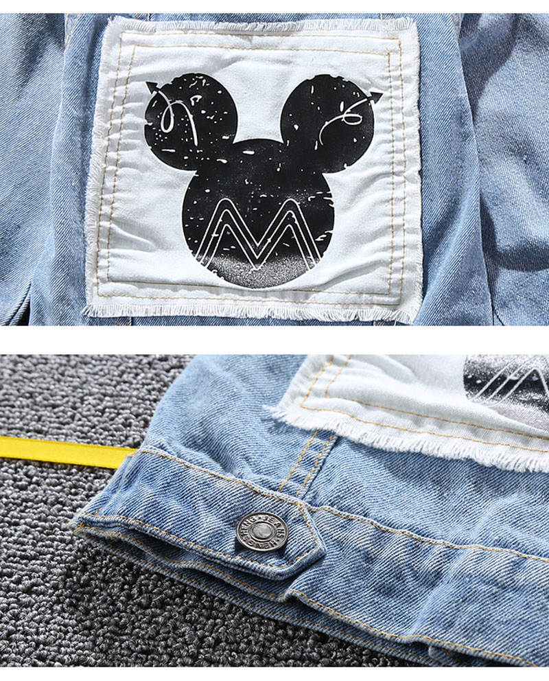 19 Mickey Denim Jacket For Boys Fashion Coats Children Clothing Autumn Baby Girls Clothes Outerwear Cartoon Jean Jackets Coat 8