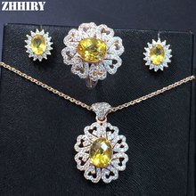 Genuine Gems Jewelry Sets Natural Citrine Actual 925 Solid Sterling Silver Women Necklace Earrings Ring