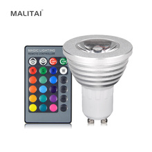 1Pcs 16 Colors Dimmable GU10 RGB LED lamp 110V - 220V 5W With 24 Keys Remote Controller Spotlight Bulb Decorative Night light(China)