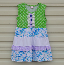 Factory Price Child Summer Baby Girl Clothes Princess Sleeveless Green Knitted Cotton Dress Children Girls Summer Dress DX003(China)