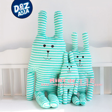 Hot selling CRAFTHOLIC striped rabbit plush doll  super cute long ear stuffed plush bunny pillow cushion  drop bulk