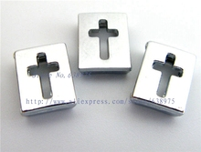 free shipping 100pcs 8mm Hollow Cross Slide Charms Fit Pet Dog Cat Tag Collar Wristband/Bracelet