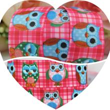 "Dobro 7/8"" 22MM New arrival Sewing Supplies Pink Plaid Asleep Owl Printed Grosgrain Ribbons Zakka Hairbows Handmade 100Y"