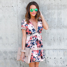 BOHO Mini Dresses Casual Body Dress Beach Wear Print Floral Cocktail Party Dress Vestidos WS062Z