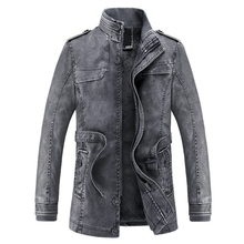 2017 Jacket men Slim Warm mens washed Leather Motorcycle Biker Jackets Standing Collar Coat jaqueta masculina Plus size XXXL