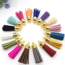100pcs Mix Color 38mm Leather Tassel For Keychain Cellphone Straps Jewelry Fiber Fringe Suede Tassel Charms