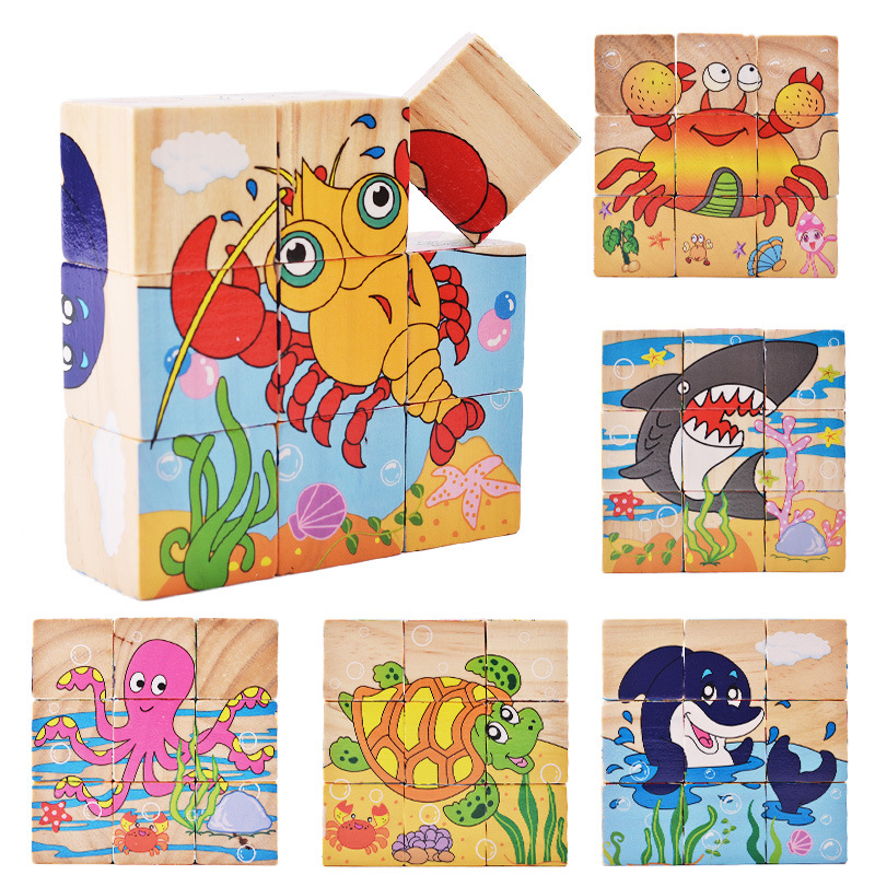 9pcs/set Baby Toys Wooden Cube Block Baby Educational Blocks Animal/Vehicle/Fruit Wooden Blocks Toys For Child Gifts(China)