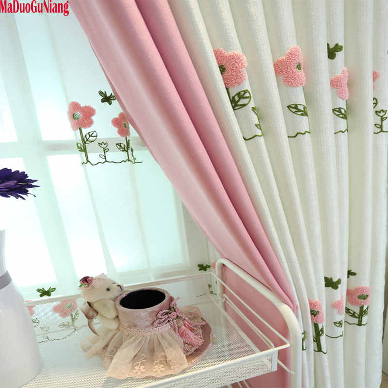 Pastoral Fresh Curtains For Kids Room Embroidered Floral Curtain Drapes Tulle For Baby Girls Bedroom Custom Made Curtains