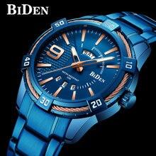 955c6f2ab70e BIDEN hombres reloj superior de la marca de lujo de Deporte Militar reloj  masculino azul correa