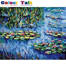Coloring by Numbers Painting Calligraphy Pictures Wallpaper Oil Painting by Numbers DIY on Canvas Drawing by Claude Monet P-0011