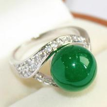 elegant lady's silver plated with crystal decorated &12mm green jades  ring(#7 8 9 10)
