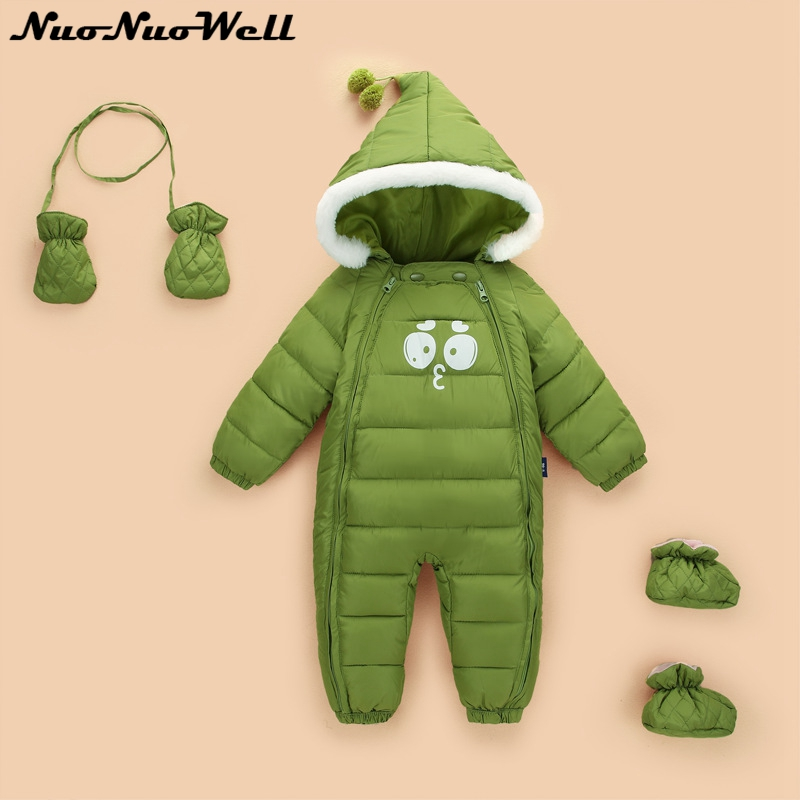2018 Newborn Baby Snowsuits Winter Clothes 3pcs Thickening Hooded Jumpsuit Baby Warm Rompers with Glove Shoose Children Outwear <br>