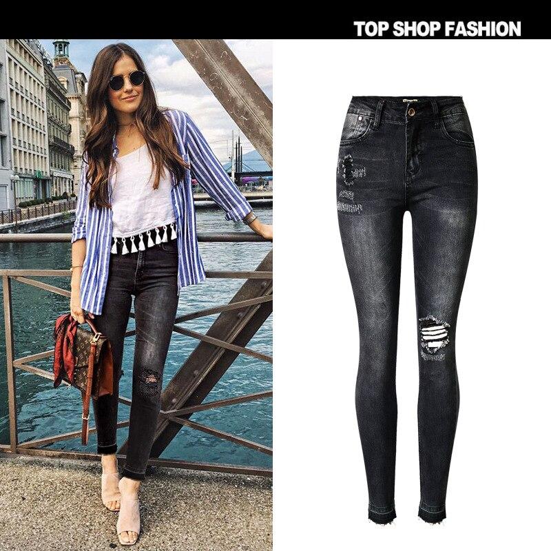 2017 spring new cutting type hip high waist Slim stretch gray black jeans nine points jeans beggars hole foot fault color tasselОдежда и ак�е��уары<br><br><br>Aliexpress