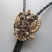 Wholesale Retail Bolo Tie Antique Gold Russian Double Headed Empire Eagle Rhinestone Bolo Tie Necklace Factory Free Shipping
