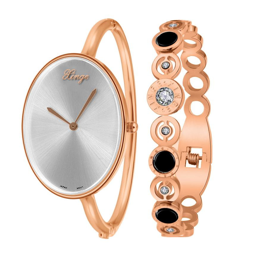 Xinge Famous Brand Women Rose Gold Silver Rhinestone Bangle Watch And Bracelet Set Women Ladies Casual Quartz Watch<br><br>Aliexpress