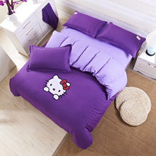 4PCS NEW Cartoon HELLO KITTY High Quality Bedding Set Duvet Cover Comfortable And Soft Bedsheet Pillowcase Bedding A290