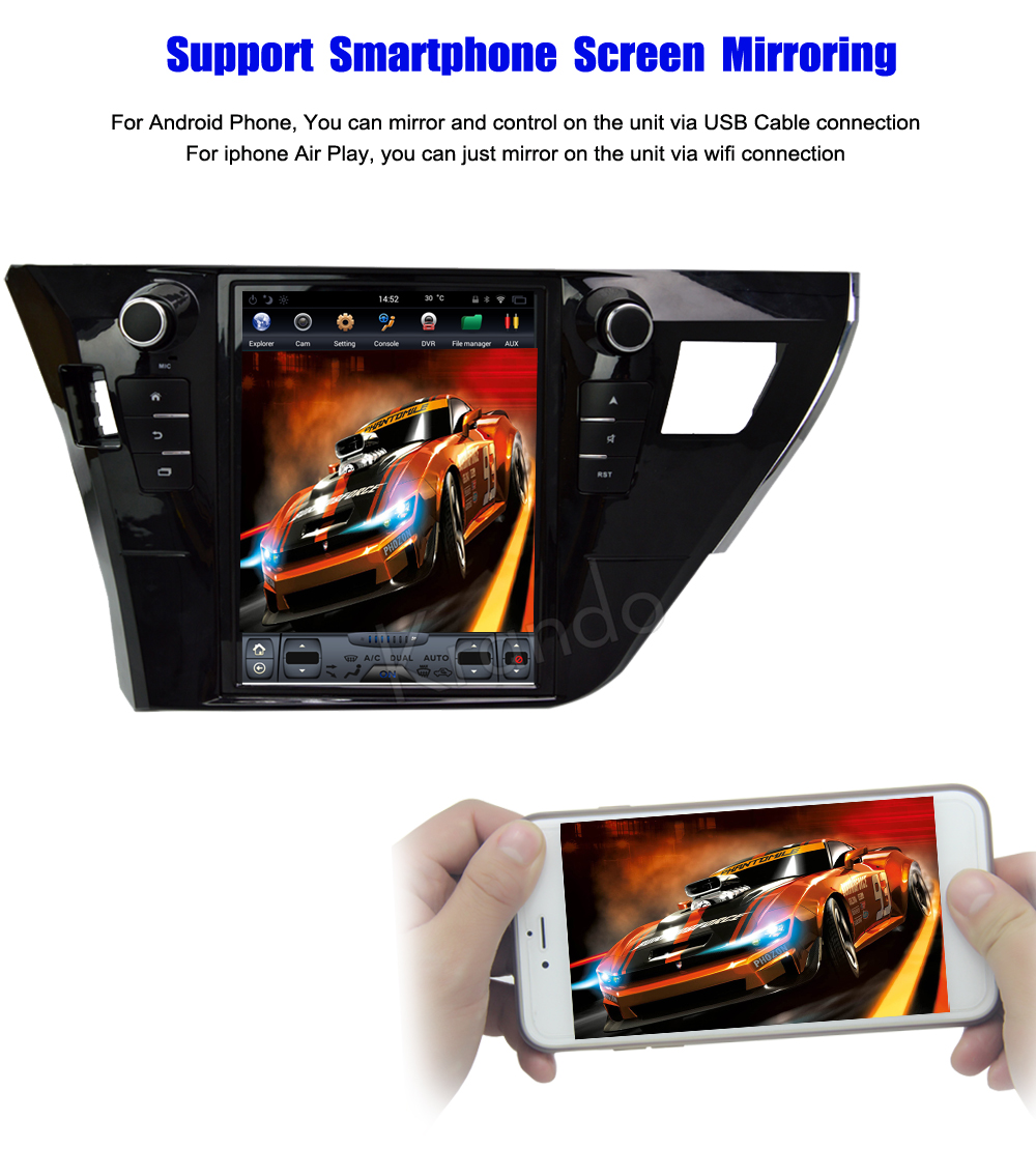 Krando Vertical screen android car radio multimedia for Toyota corolla 2013-2016 Big screen navigation with gps system (5)