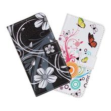 Newest Black White Butterfly Flower Printed Wallet Leather Phone Cover Case For HTC Desire 500 Phone Case