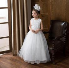Little Girl Wedding Dress 2017 New Lace Flowers Kids Party Dress White Girls Pageant Dresses High-grade Childrens Clothes