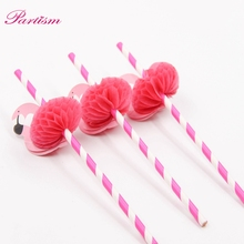 10PCS Flamingo Straw 3D Straw Bendy Flexible paper Drinking Straws Kids Birthday/Wedding/Pool Party Decoration Supplies