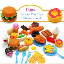 34pcs Funny Kitchen Pretend Play Toy Plastic Cutting Fruit Vegetable Drink Food Children Early Education Toys(China)