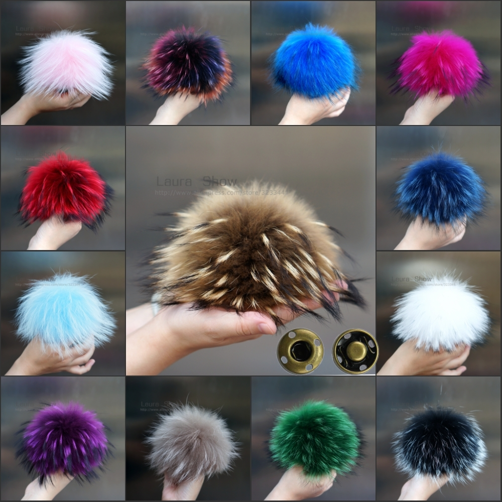 LAURASHOW Pom-Poms Hat Shoe-Bag Fur-Cap-Accessories Fox-Fur-Ball Real-Raccoon-Mink Colorful title=