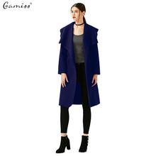 Gamiss Women Fashion Elegant Woolen Long Trench Coat With Belt Ladies Wool Coat Winter Jacket Long Maxi Overcoat manteau femme