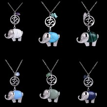 Hand Made Blue Opal Natural Stone Yoga Pendants Silver Color Elephant Shaped Necklaces For Women