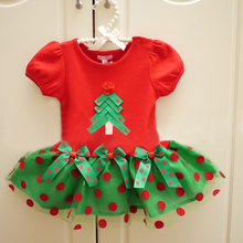 XQ-086 Free shipping 2017 new style children clothing girls dress children dress Christmas polka dot factory direct sales retail(China)