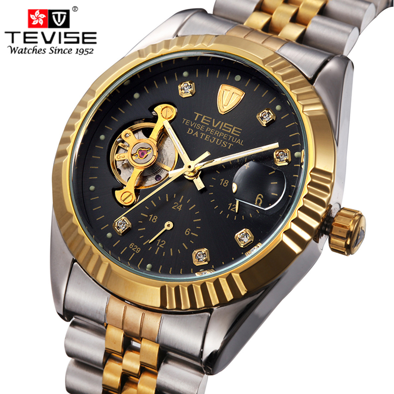 New Fashion Watch Mens Luxury Brand TEVISE Watch Automatic Mechanical Watches Hollow Men Tourbillon Mechanical Watch hours<br>