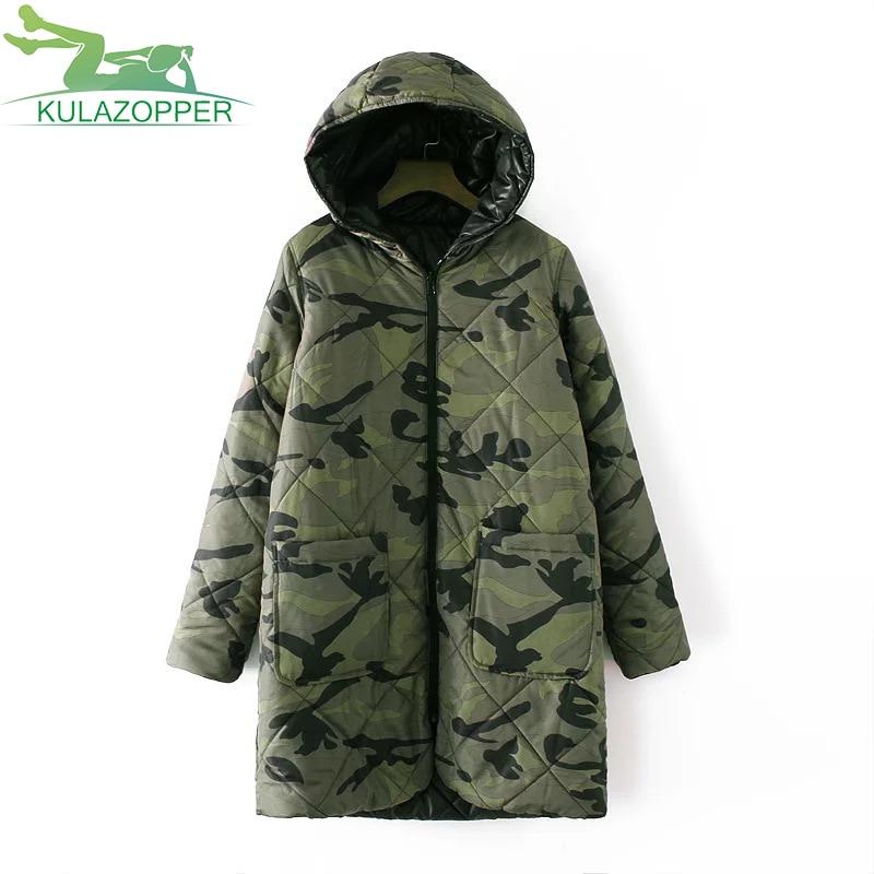 KULAOZPPER 2017 Women Parkas Winter outwear Fashion long section of camouflage coat both sides to wear Women cotton coat Wl032Îäåæäà è àêñåññóàðû<br><br>